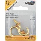 National V2021 1-1/4 In. Solid Brass Series Cup Hook (2 Count) Image 1