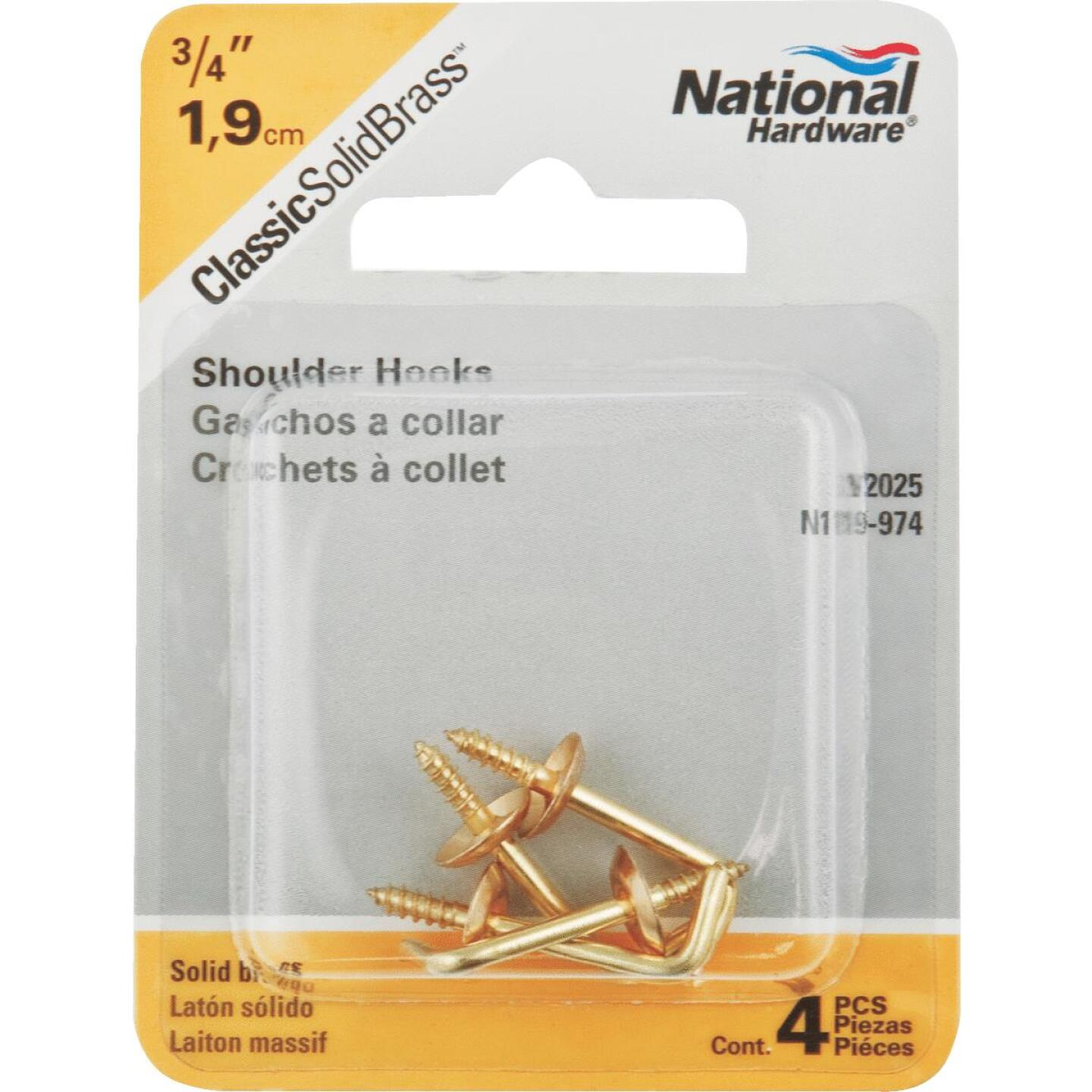 National 3/4 In. Solid Brass Shoulder Hook (4 Count) Image 2