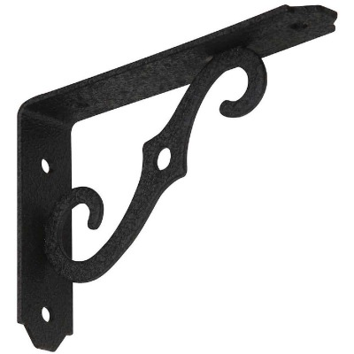 National 152 5 In. D. x 3-1/2 In. H. Black Steel Ornamental Shelf Bracket/Plant Hanger