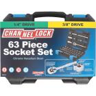 Channellock Standard and Metric 1/4 In. and 3/8 In. Drive Combination Ratchet & Socket Set (63-Piece) Image 2